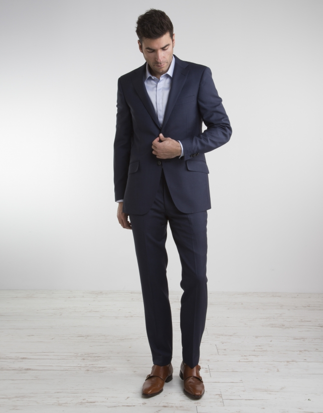 Traje regular fit falso liso marino