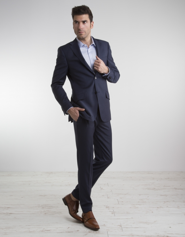 Veste de costume regular fit (coupe classique) faux uni bleu marine