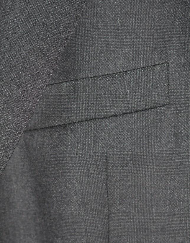 Traje clásico lana cuadro gales gris marengo