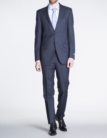 Navy blue microprint suit