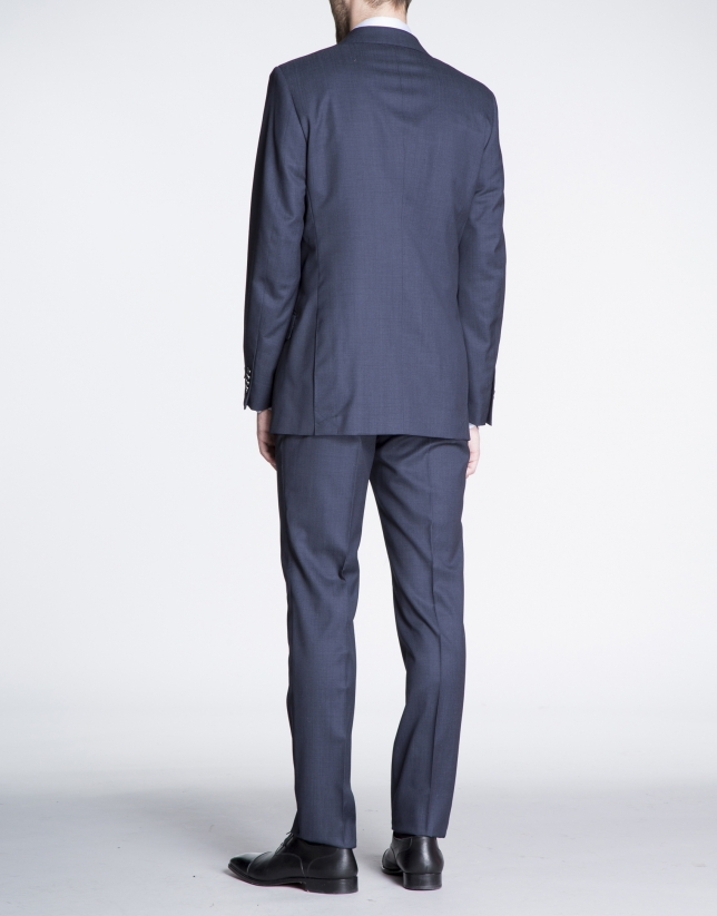 Navy blue microprint suit
