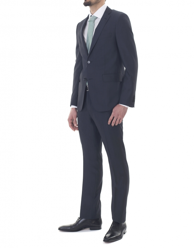 Veste costume unie bleue trois poches