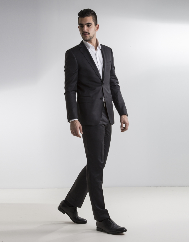 Dark grey plain suit