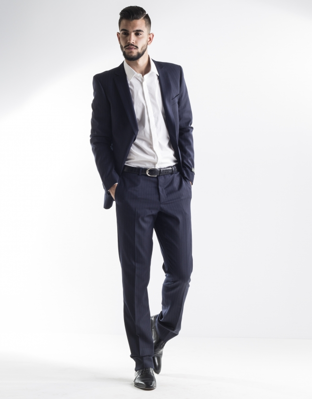 Navy blue pinstriped suit