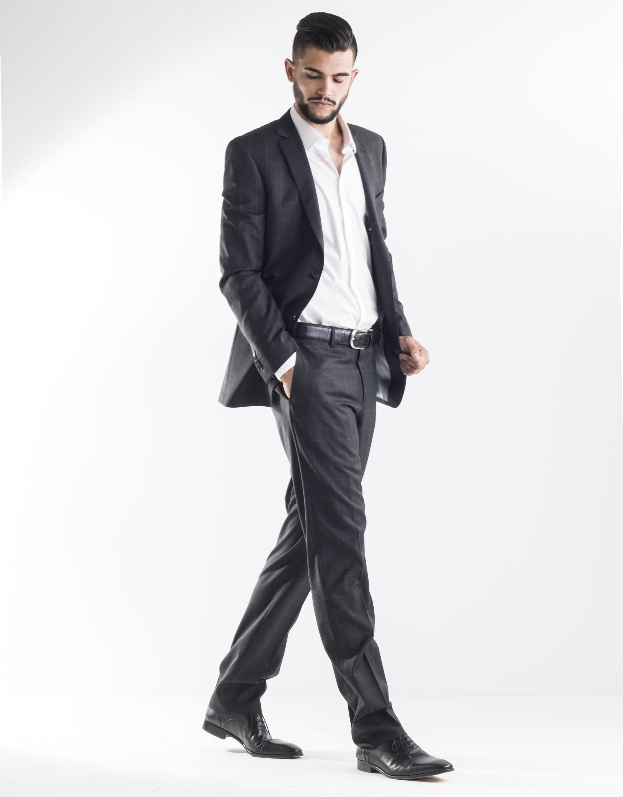 Costume gris fonc carreaux homme roberto verino - Costume gris fonce ...