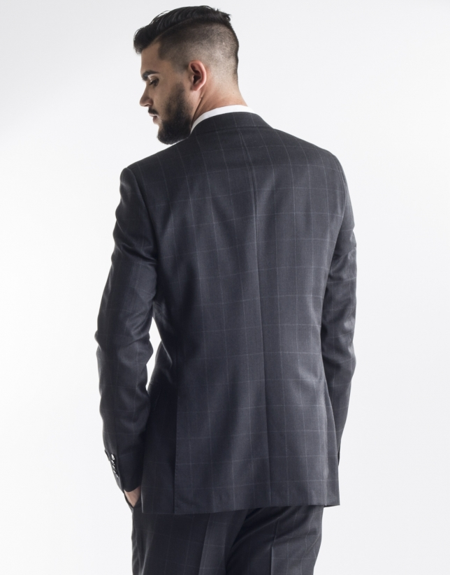 Dark grey checked suit
