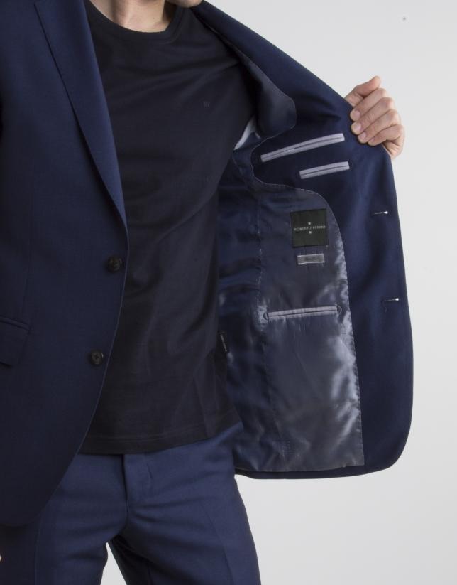 Veste de costume slim fit (coupe ajustée) faux uni bleu marine