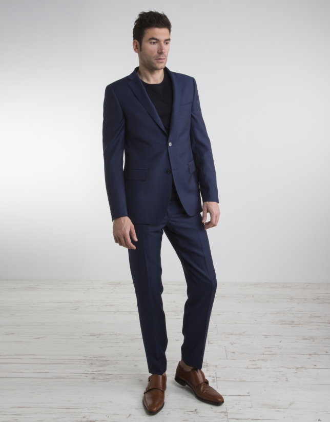 Traje slim fit falso liso marino