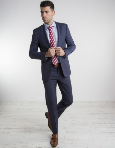 Veste de costume slim fit (coupe ajustée) bleu marine à carreaux