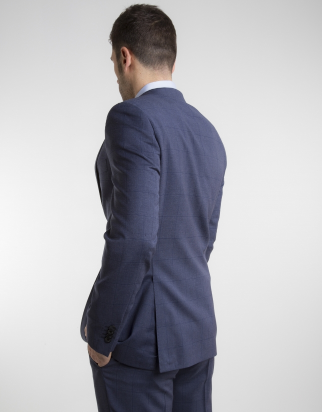 Navy blue checked slim fit suit