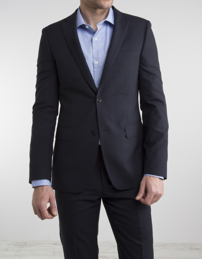 Navy blue cool wool slim fit suit