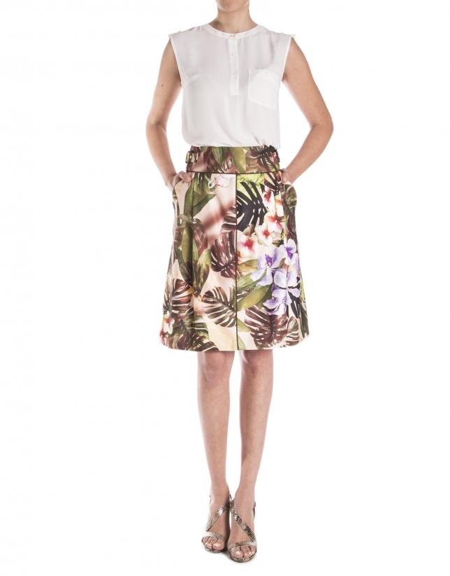 Falda estampada floral trabillas