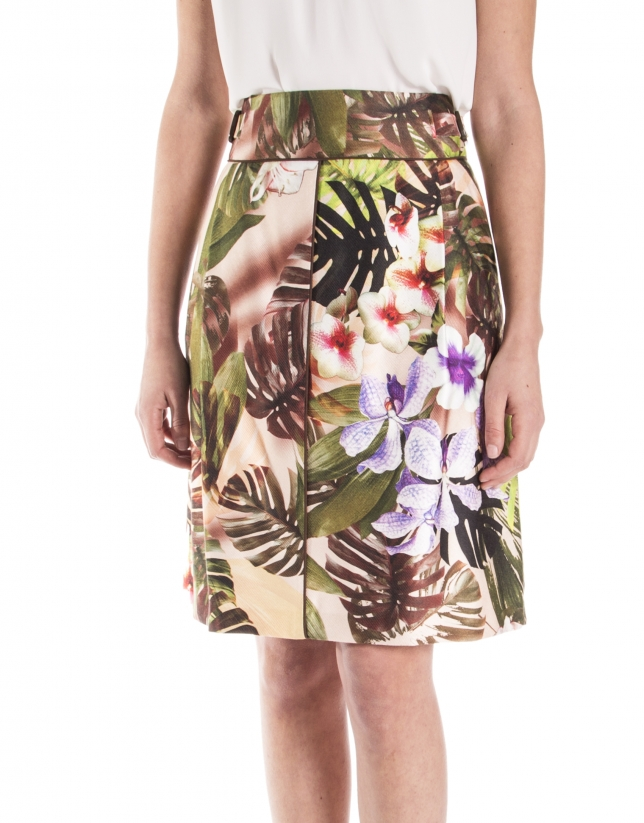 Floral print skirt with loops