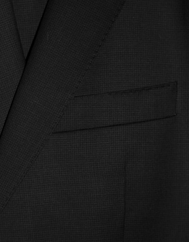 Traje clásico lana microdibujo negro