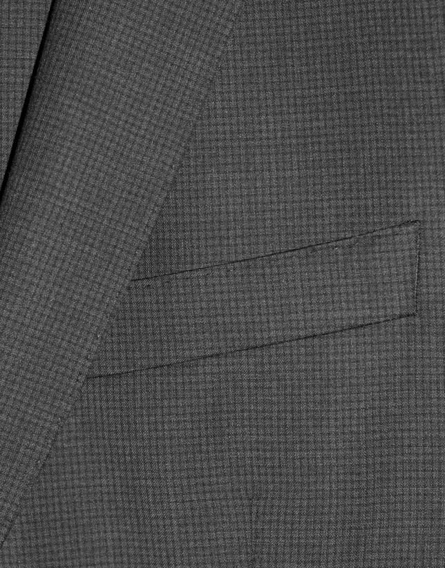 Traje clásico lana micro cuadro gris melange