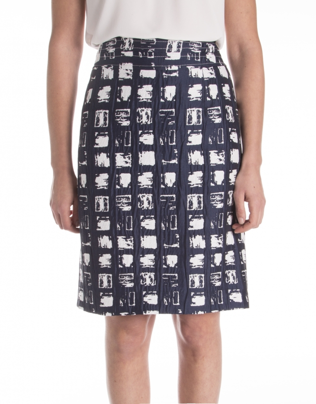 Jacquard checkered skirt