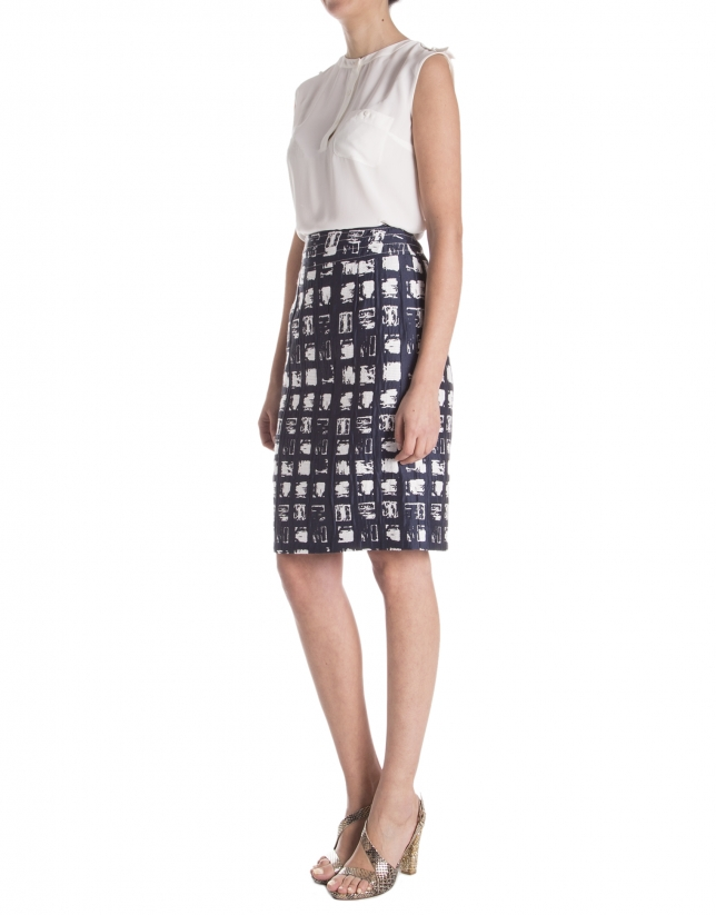 Jacquard checkered skirt