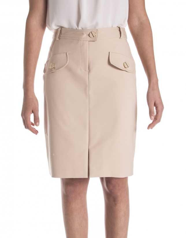 Straight skirt with pockets