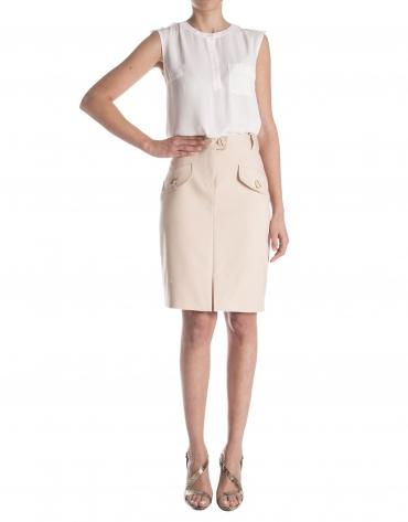 Falda recta con bolsillos