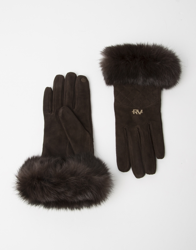 Brown fur and leather gloves