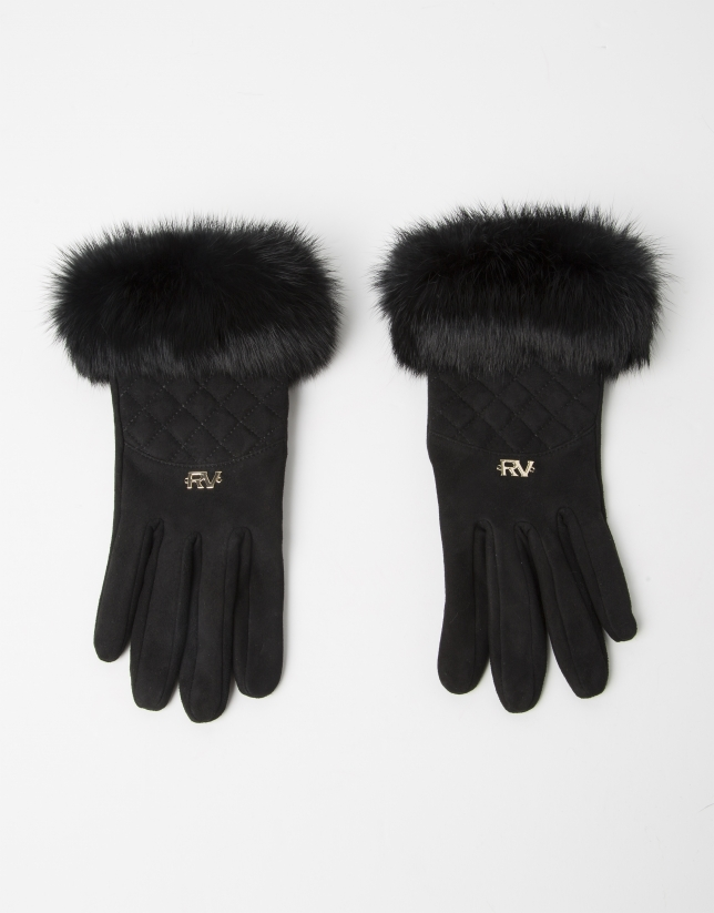 Black fur and leather gloves