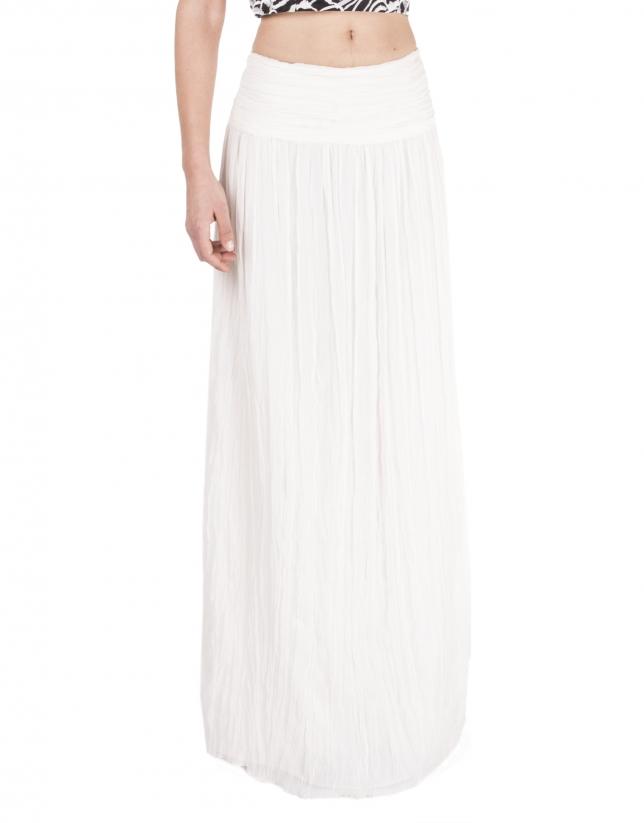 Falda larga plisada blanco roto