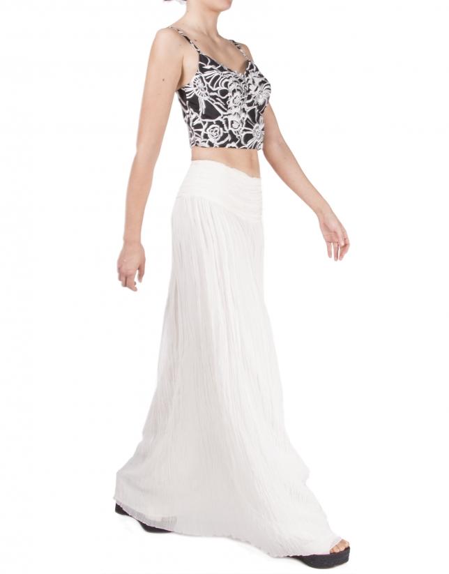 Long, off white, pleated skirt