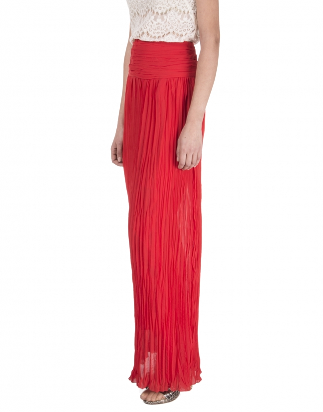 Long red pleated skirt