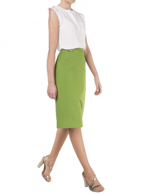 Green straight skirt