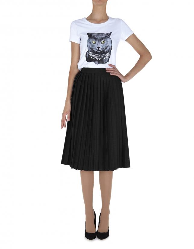 Falda midi pliegues negra