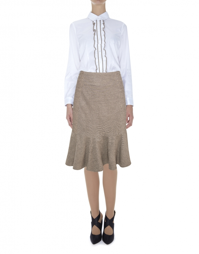 Brown mid-length mermaid cut skirt
