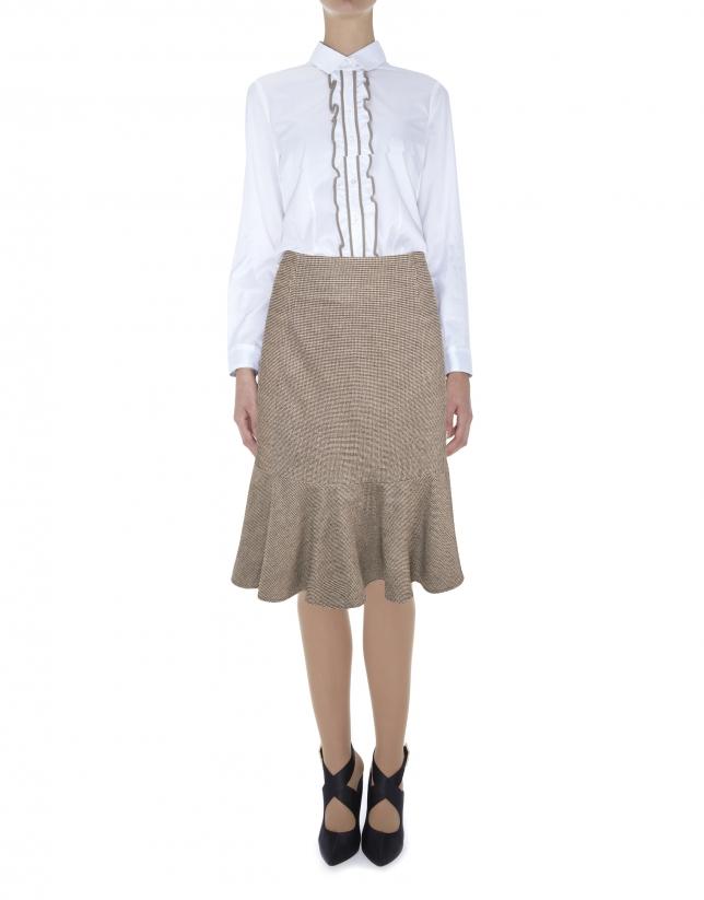 Brown mid-length mermaid cut skirt