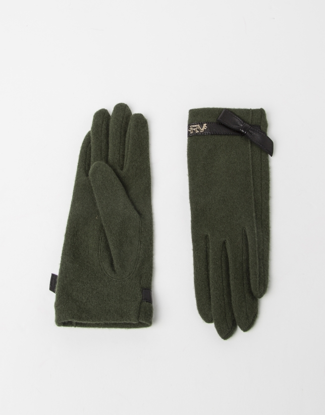 Green wool gloves