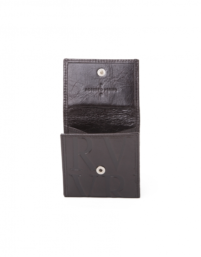Porte-monnaie en cuir brun