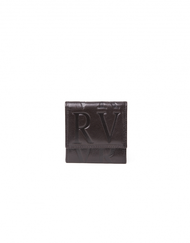 Brown leather small change purse