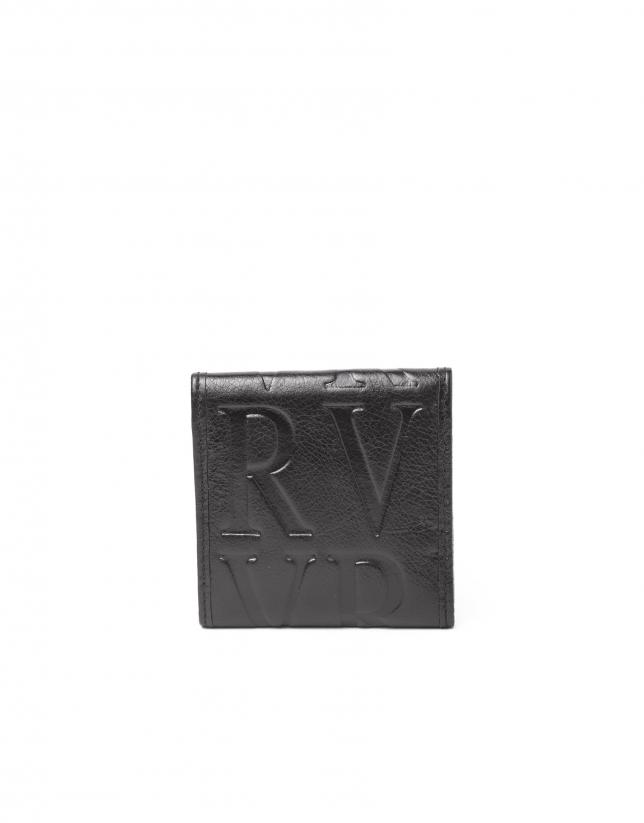 Porte-monnaie en cuir noire