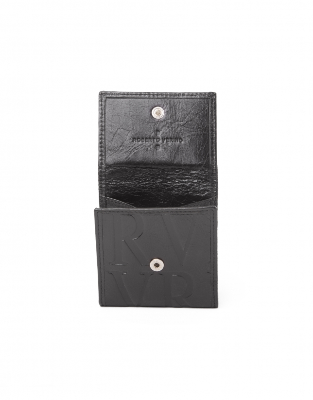 Monedero pequeño negro piel grabada RV.