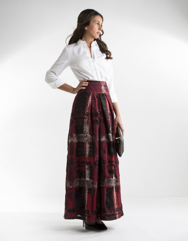 Long red checked jacquard skirt