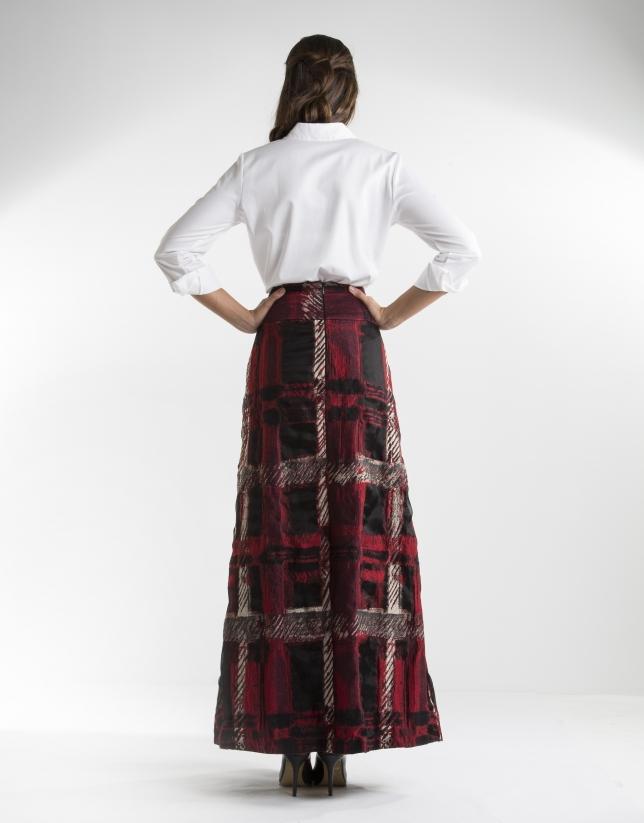 Jupe longue à jacquard carreaux rouge