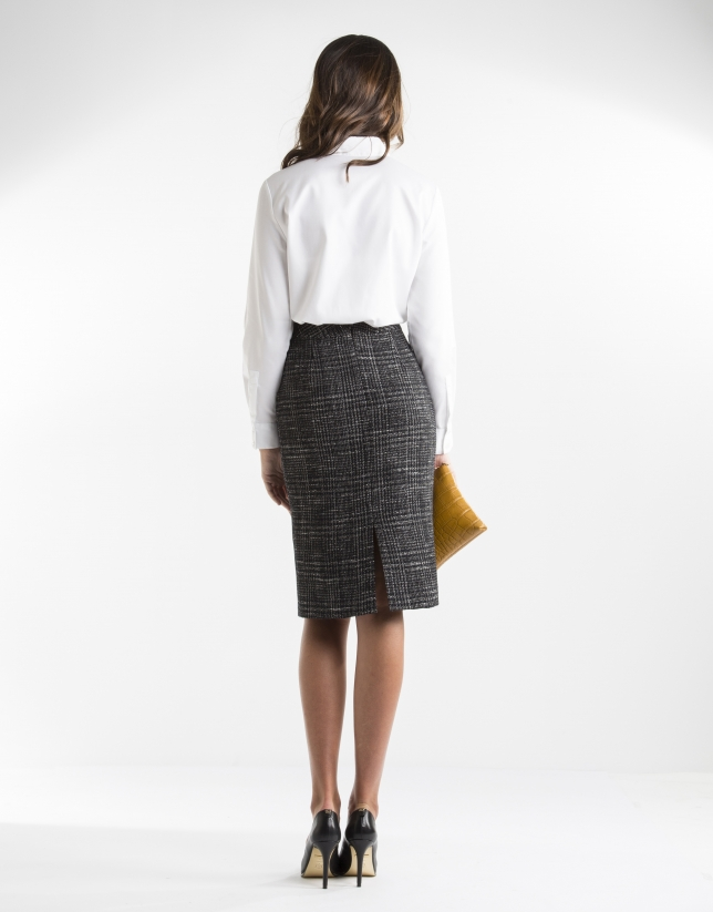 Blue checked straight skirt