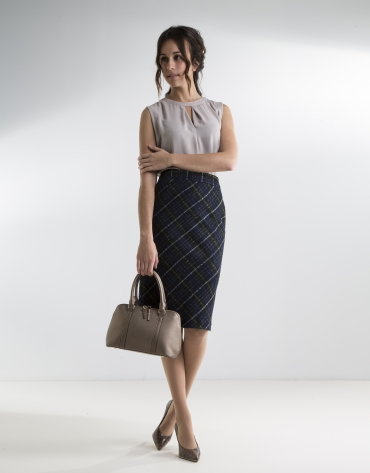 Green checked straight skirt