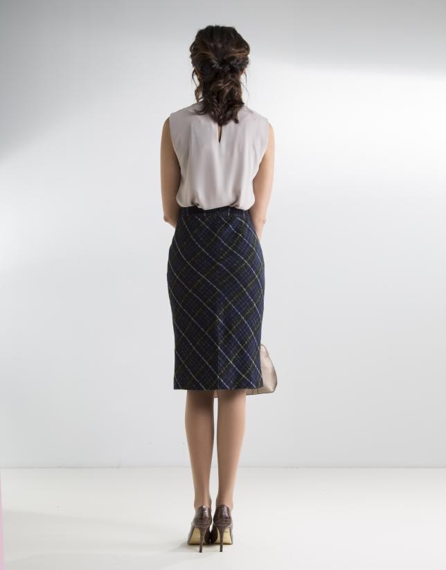 Green checked straight skirt