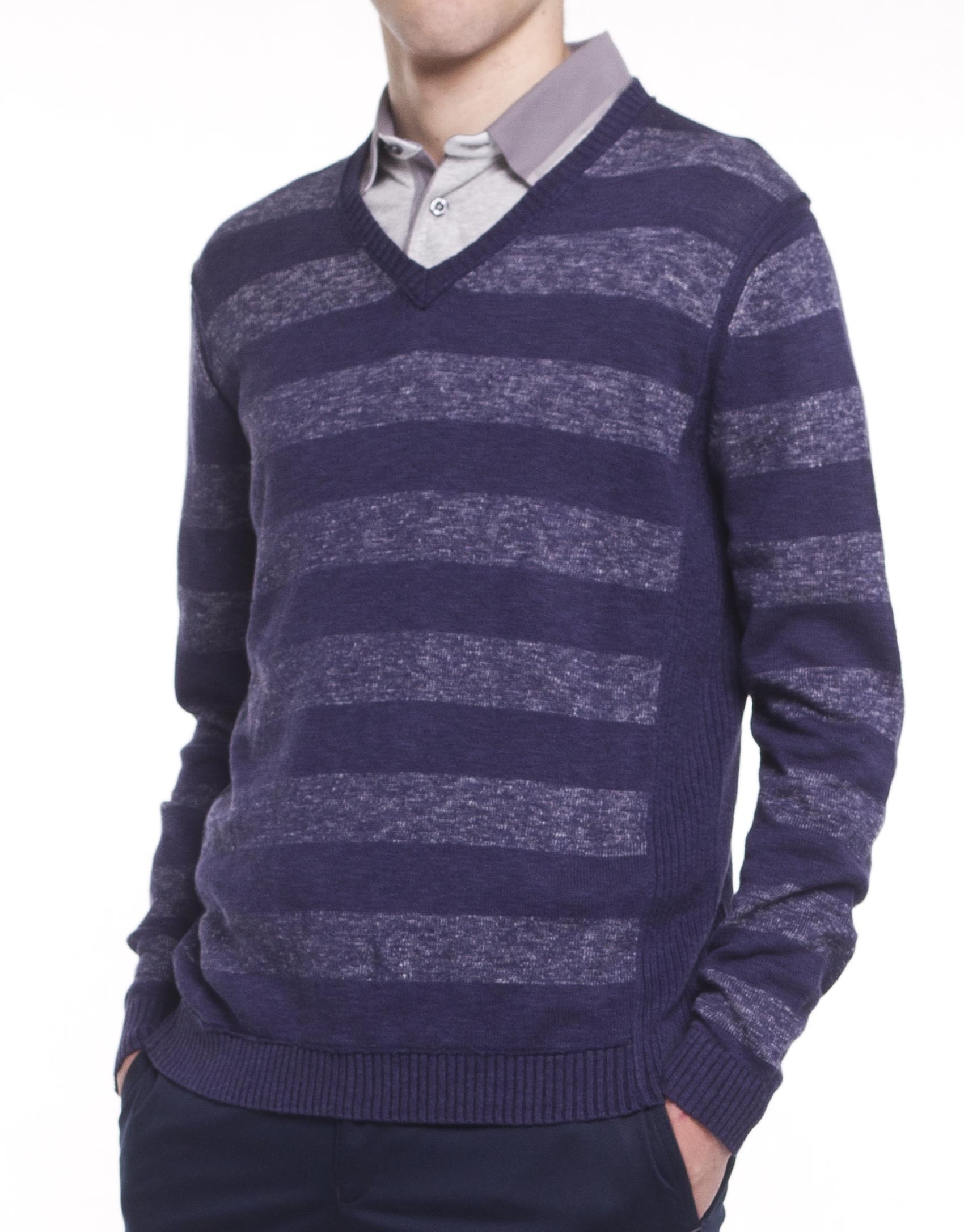 Knitting Pattern Striped Sweater : Striped knit sweater - Roberto Verino