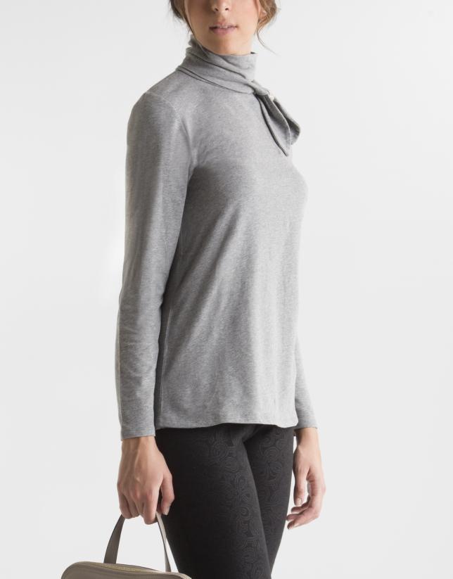 T-shirt gris col fantaisie