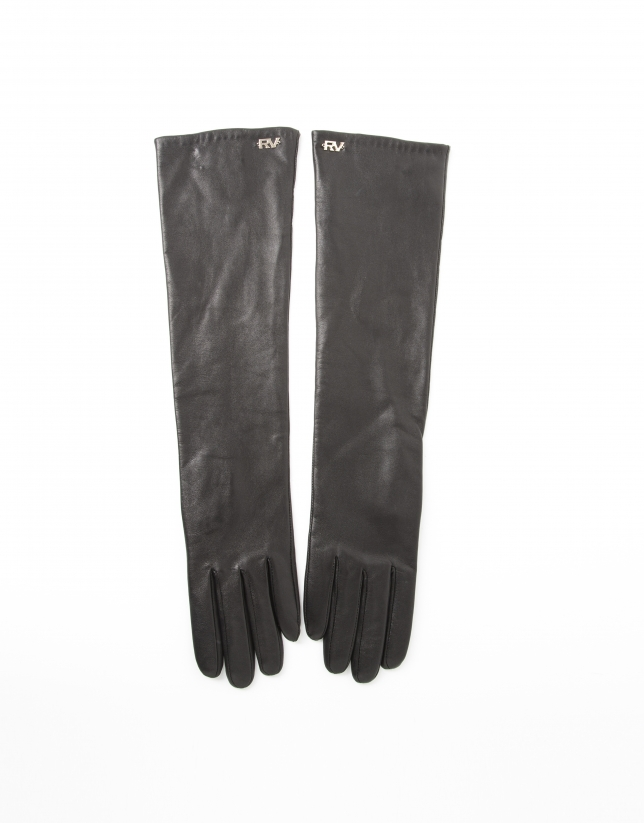 Long black leather gloves