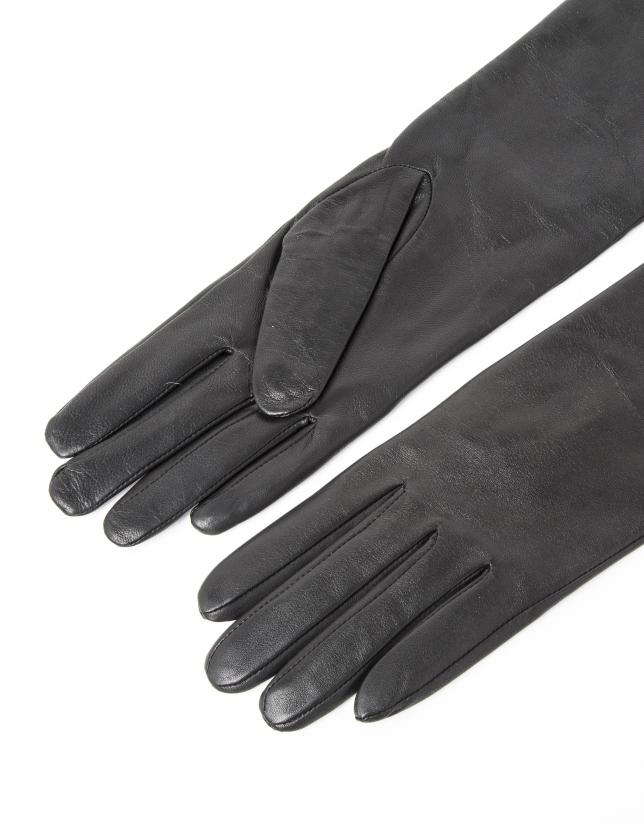 Long black leather gloves