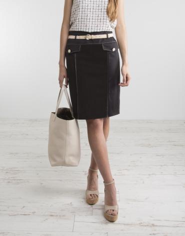 Falda recta negra