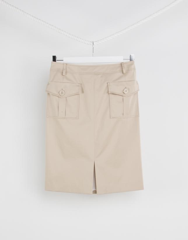 Camel straight skirt