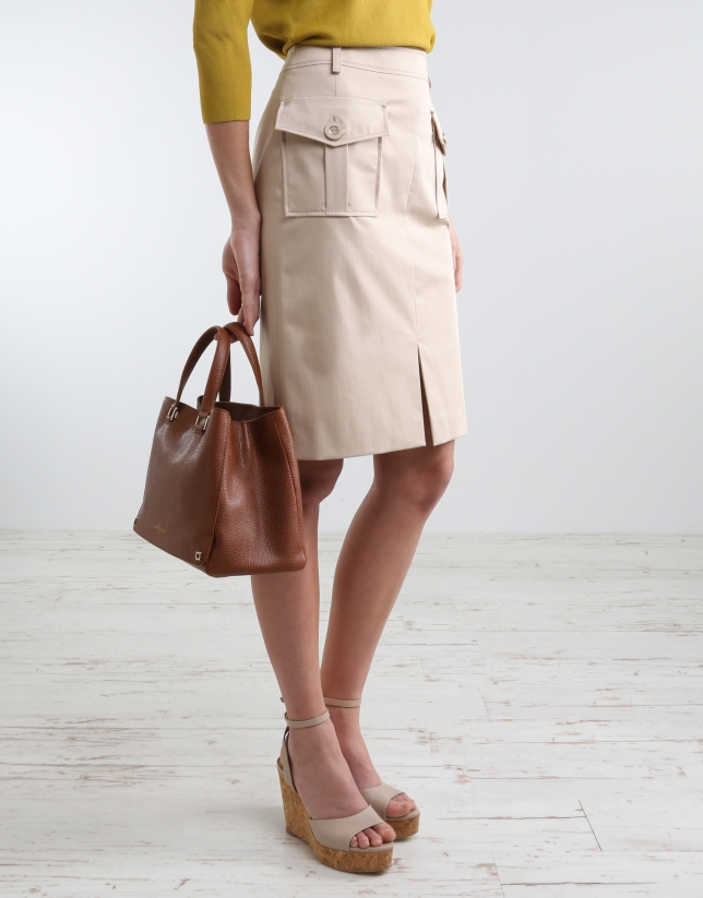 Camel straight skirt