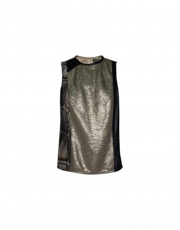 Silver sequin sleeveless top.